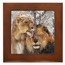 winter lions Framed Tile