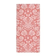 Coral Pink Damask Pattern Beach Towel