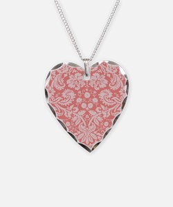 Coral Pink Damask; floral Necklace