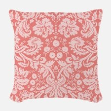 Coral Pink Damask; floral Woven Throw Pillow