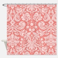 Coral Pink Damask; floral Shower Curtain