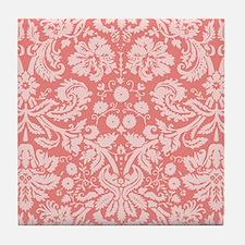Coral Pink Damask; floral Tile Coaster