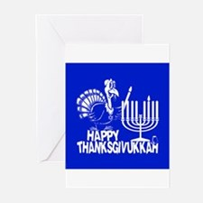 Happy Thanksgivukkah Turkey and Menorah Greeting C