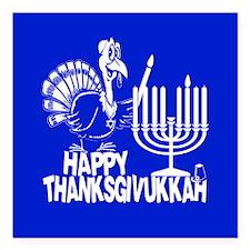 Happy Thanksgivukkah Turkey and Menorah Square Car