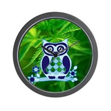 cute owl love peace a Wall Clock