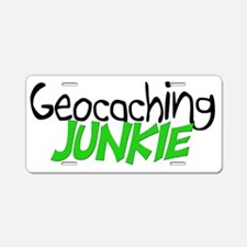 geocaching junkie-green Aluminum License Plate
