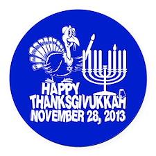 Happy Thanksgivukkah Turkey and Menorah Round Car