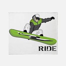 SnowboarderBack Throw Blanket