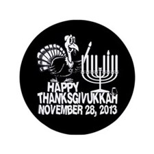 "Happy Thanksgivukkah Turkey and Menorah 3.5"" Butto"