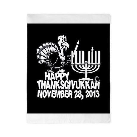 Happy Thanksgivukkah Turkey and Menorah Twin Duvet