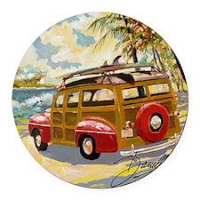 Retro Woody Round Car Magnet
