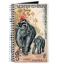 Vintage 1958 Laos Asian Elephants Postage Stamp Jo