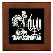 Happy Thanksgivukkah Turkey and Menorah Framed Til