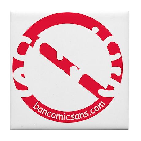 nocomicsans_dark_bg Tile Coaster