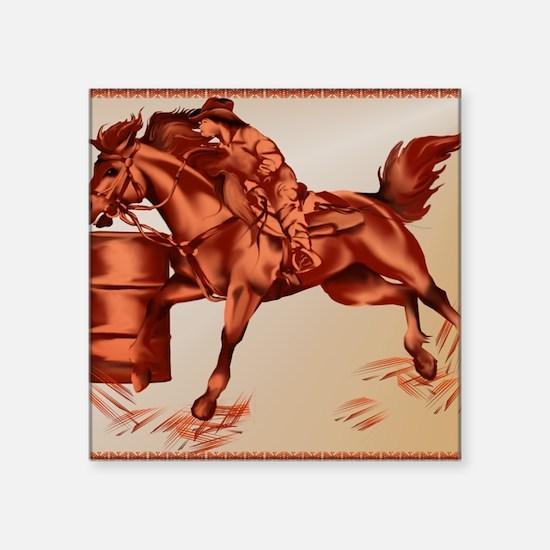 """Barrel Racing _mpad Square Sticker 3"""" x 3"""""""