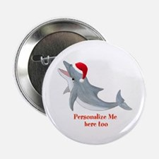 """Personalized Christmas Dolphin 2.25"""" Button (10 pa"""