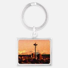 Seattle in the Clouds copy Landscape Keychain