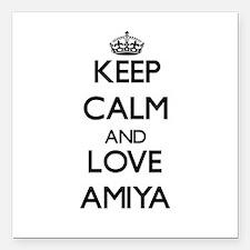 "Keep Calm and Love Amiya Square Car Magnet 3"" x 3"""
