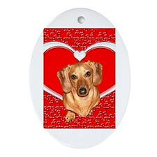 Sweetheart Dachshund Dog Oval Ornament