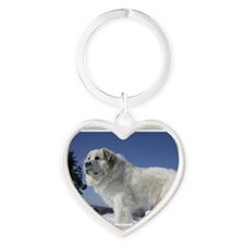 Great Pyrenees Heart Keychain