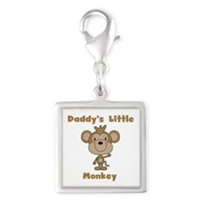 Daddy's Little Monkey Silver Square Charm
