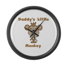 Daddy's Little Monkey Large Wall Clock