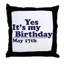 May 17 Birthday Throw Pillow