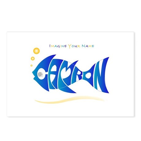 Camron blue fish Postcards (Package of 8)