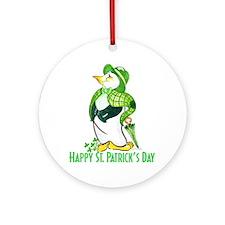 St. Patrick's Day Penguin Ornament (Round)