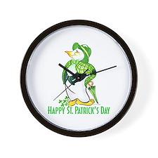St. Patrick's Day Penguin Wall Clock