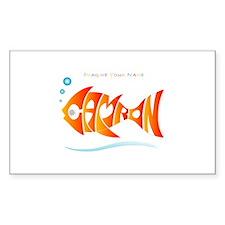 Camron orange fish (goldfish) Sticker (Rectangular