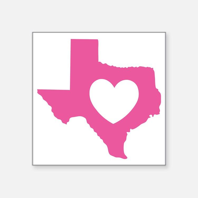 "heart_pink Square Sticker 3"" x 3"""