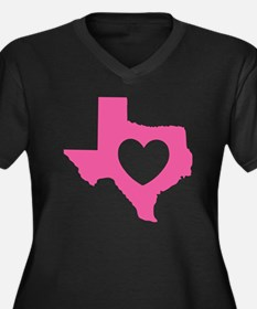 heart_pink Women's Plus Size Dark V-Neck T-Shirt