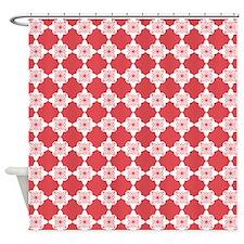 Cayenne Red Quatrefoil Floral Shower Curtain