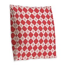 Cayenne Red Quatrefoil Floral Burlap Throw Pillow