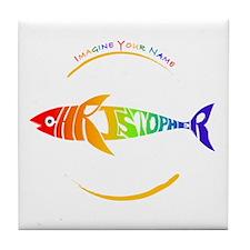 Christopher rainbow shark Tile Coaster