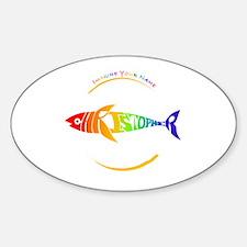 Christopher rainbow shark Oval Decal