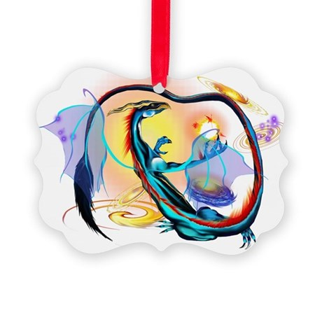 Blue Galaxy Dragon 4x4 Trans Picture Ornament