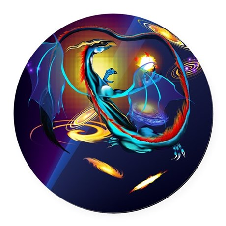 Blue Galaxy Dragon PosterP Round Car Magnet