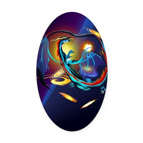 Blue Galaxy Dragon PosterP Oval Car Magnet