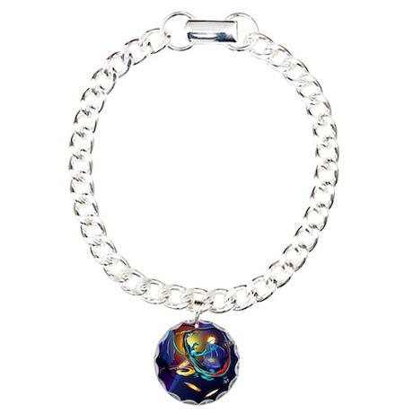 Blue Galaxy Dragon Poste Charm Bracelet, One Charm