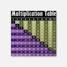 "multiplication-tableBLK Square Sticker 3"" x 3"""