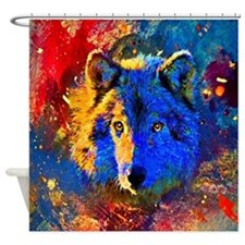 Rainbow Wolf Shower Curtain