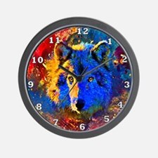 Rainbow Wolf Wall Clock