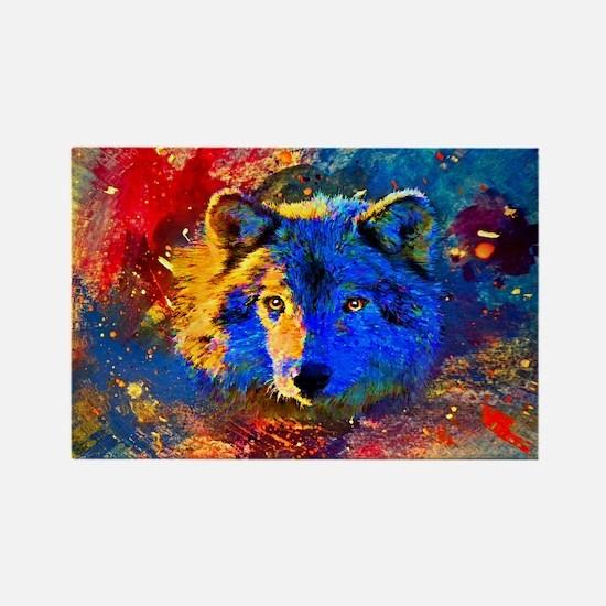 Rainbow Wolf Rectangle Magnet