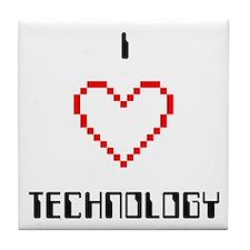 I Love (Heart) Technology - Tile Coaster