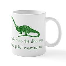 dinosaur global warming green Mug