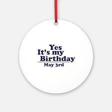 May 3 Birthday Ornament (Round)