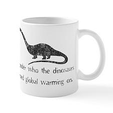 dinosaur global warming black Mug