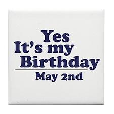 May 2 Birthday Tile Coaster